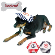 Sailor Moda Dog Pet Dog Cat Algodão Hat Sports Baseball Stripe Cap com Orelha Furos