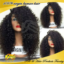 Chinese virgin human hair glueless lace front wigs kinky curly wig for black women