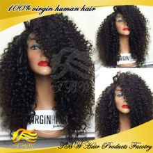 Cabelo humano virgem chinês glueless lace front perucas peruca curly kinky para mulheres negras