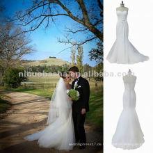 NY-1549 Fischschwanz mit Spitze Mieder & Tulle Rock Hochzeitskleid
