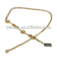 Cinturón de cuero de cadena con esmalte y cristales Accesorios