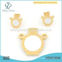 Moda de ouro de aço inoxidável medalhista e jóias brinco conjunto de desenhos