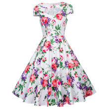 Belle Poque Hollowed Kurzarm-Blumendruck Vintage Style Baumwollkleid 50s BP000008-11