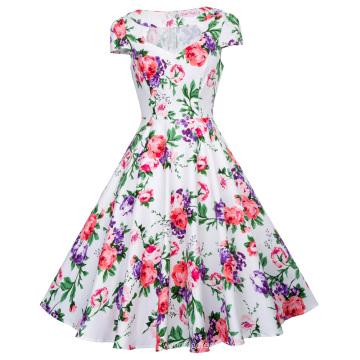 Belle Poque ahuecado de manga corta de impresión floral de estilo Vintage vestido de algodón 50s BP000008-11