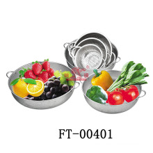 Hot Sell Stainless Steel Double Handle Colander (FT-00401)