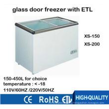 Морозильная камера для мороженого с плоским стеклом для супермаркета с ETL