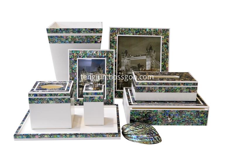paua shell bathroom set