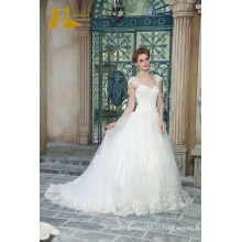 ED Bridal Exquisite Cap Sleeve Lace Applqiues Beads Andar Comprimento A-Line Vestidos de casamento