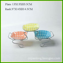 Square Lgass Decal Fruit Tray with Metal Rack