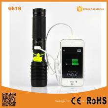 6618 High Power Xml T6 USB LED Flashlight Power Bank
