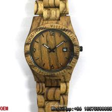 Relojes de cuarzo de alta calidad de la fecha de los relojes de la cebra-madera Hl05