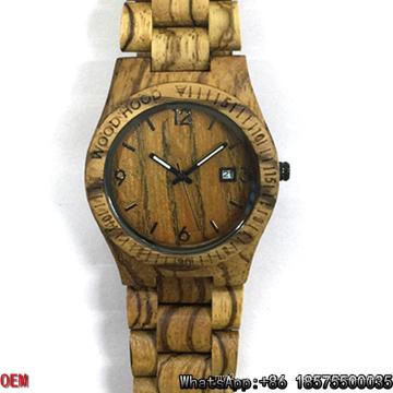Relógios De Zebra De Madeira De Alta Qualidade Data De Quartzo Relógios Hl05