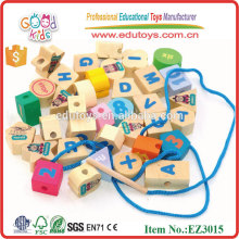 2015 Preschool Kids Wooden Beads Wholesale, Alphabet Wooden Beads,