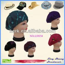El invierno de las lanas del sombrero del fieltro del invierno de la manera hizo punto el sombrero de lanas, LSW34