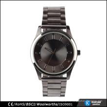 Japan movt reloj de acero inoxidable reloj de pulsera negro