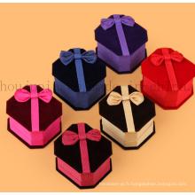 Boîte de bijoux d'emballage de suède d'OEM avec le ruban en soie