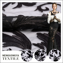 Custom design fashionable flat floral black embroidered tulle fabric