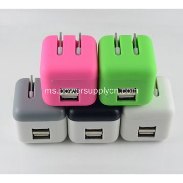 Super Mini Dilipat Dual USB Phone Charger 5V2.1A