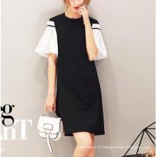 Robe d'été à manches courtes en noir et blanc pour femme