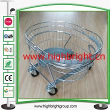 Panier à provisions chromé de main ronde de fil de métal avec le chariot de go