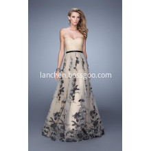 Strapless Sweetheart Mesh Lace up Celebrity Dress