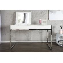 Dressing Table with White Table Top and Chromed Foot