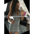 Ebaby aliexpress venda quente vestido de mulher cor sólida low-breasted em torno do pescoço sem mangas pacote hip sexy vestido de noite para as mulheres