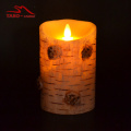 flameless moving wick Birch Bark Electric Wax Candle