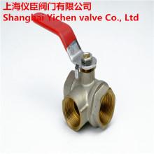 Válvula de bola de gas de latón roscado de 3 vías