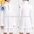 Weiß gekräuselte lange Ärmel kalte Schulter Baumwolle Sommer täglich Minikleid Herstellung Großhandel Mode Frauen Bekleidung (TA0004D)