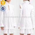 Blanc Ébouriffé À Manches Longues Épaule Froide Coton Été Quotidien Mini Robe Fabrication En Gros Mode Femmes Vêtements (TA0004D)
