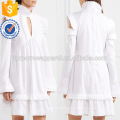 White Ruffled Long Sleeve Cold Shoulder Cotton Summer Daily Mini Dress Manufacture Wholesale Fashion Women Apparel (TA0004D)