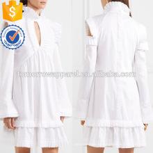 Branco Ruffled manga comprida Cold Shoulder Cotton Verão Daily Mini Dress Fabricação Atacado Moda Feminina Vestuário (TA0004D)