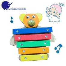 Madeira musical brinquedo urso instrumento musical 5 chaves xilofone brinquedo para bebê