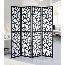 Wholesale Pine wood 4 Panel Screen Room Divider, Black Color With Decorative Cutouts