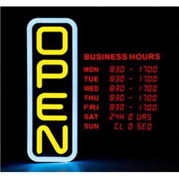 20 '' Vertikal LED Open Sign med Digital Business Hours