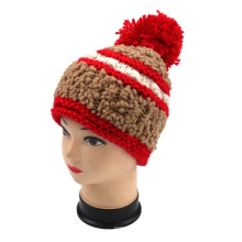 Chuncky Hand Knit Hat Knitted Wool Hat Pompom Knitting Beanie