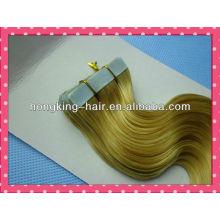 hermosa suave y lisa remy pelo rubio ondulado cinta extensión del pelo