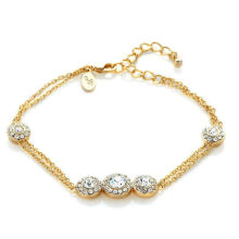 Fashion Jewelry Gold Plated Crystal Charm Bracelet Bangles For Women