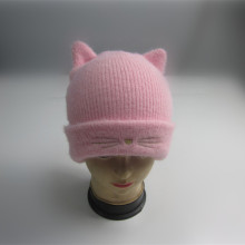 Girls Novelty Cat Beanie With Embroidery