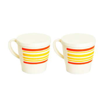 Plastic Cup Stripe Printed With Lid