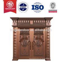Puerta de cobre con diseños de puertas dobles delanteros para la talla moderna