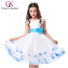 Grace Karin sin mangas de flores blancas niñas vestido de una pieza de vestidos de fiesta de cumpleaños CL4607