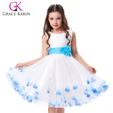 Grace Karin Sleeveless White Flower Girls Dress One Piece Birthday Party Dresses CL4607