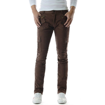 Mens Slim Stretchy Side Spänne Patch Bomull Pant