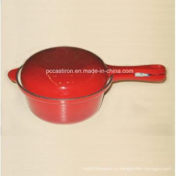Эмаль Чугунная кастрюля с двойной крышкой Использовать как сковорода