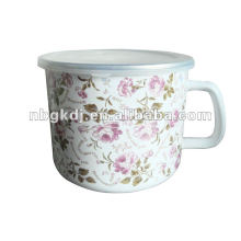 full design enamel mug with PP lid and SS rim