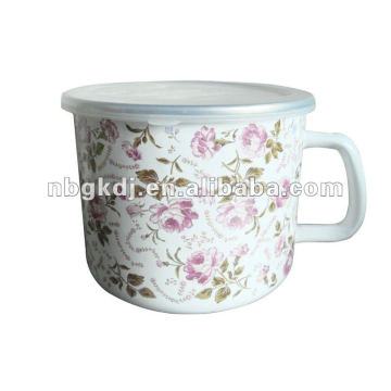 full design enamel mug with PP lid and SS rim