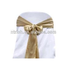 Faixa cetim champanhe de cadeira, laços de cadeira, quebra para hotel do banquete de casamento