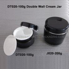 100ml redondo negro doble pared tarro de crema